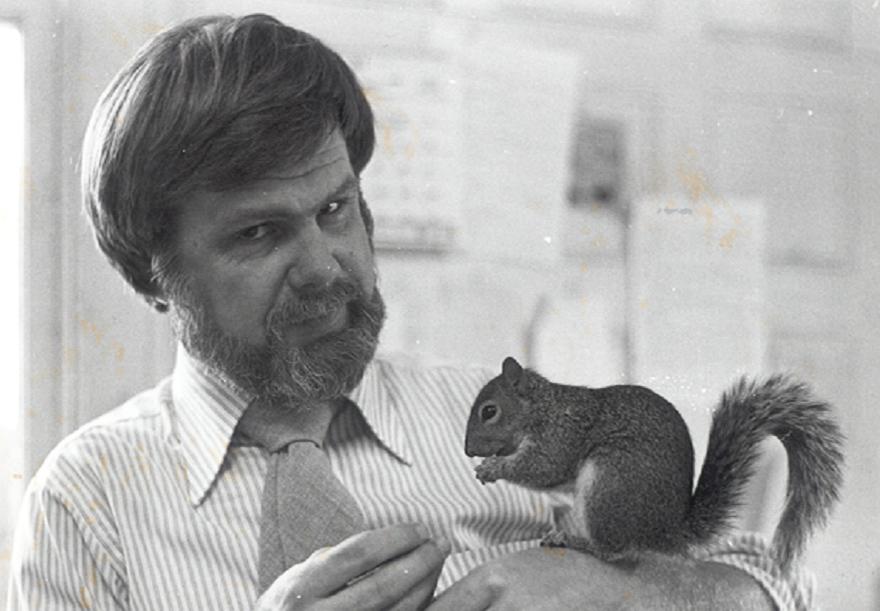 "TD feeding DPR's ""Mascot Squirrel"", Biff."